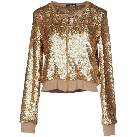 ba1c9ce340d Lui Jo Jackets & Coats | Chic Liu Jo Gold Sequined Zip Jacket | Poshmark
